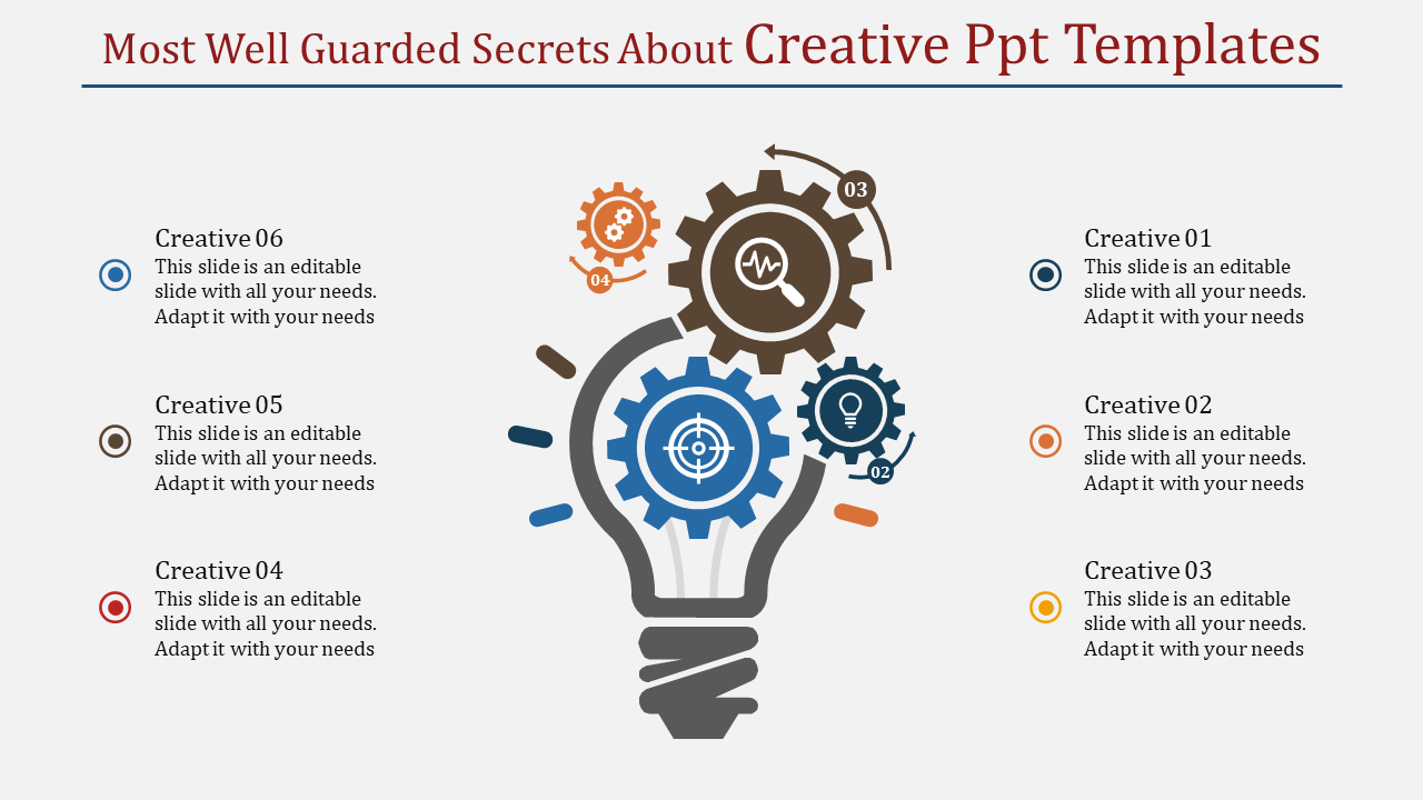 A six noded creative PPT templates